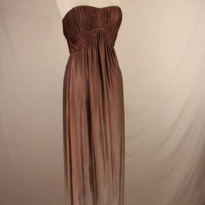 BCBG Strapless Pleated Dress BROWN Size M #26